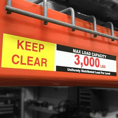 Weight Capacity Labels for Shelving and Pallet Racks