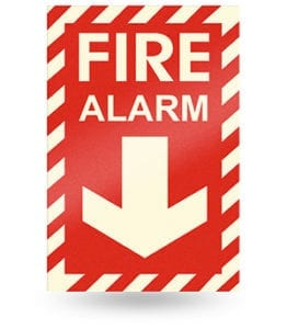 Glow Red Fire Alarm Sign
